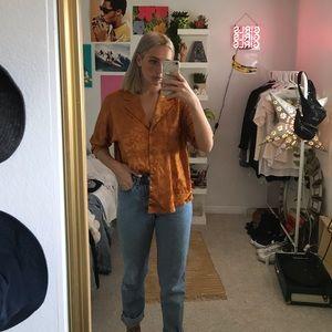 Orange button up shirt